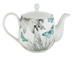 Sainsbury's Botanist Teapot / flower and butterfly design in aqua blue and grey on white, c. 2016, ceramic