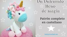 Un Unicornio lleno de magia - patrón castellano | Babycrochet.eu Crochet Bunny, Crochet Animals, Crochet Patterns Amigurumi, Crochet Toys, Diy Nightstand, Knit Basket, Crochet Winter, Make It Yourself, Handmade