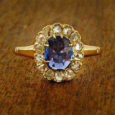 """Vintage Engagement Ring with Cushion Cut Sapphire, circa 1900"""