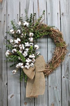Preserved Eucalyptus and Raw Cotton Bolls, Primitive Country Wreath from Florals From Home - $116.00 Free Shipping!  http://floralsfromhome.com