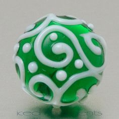 Lapel pin  Line art  Green and white  lampwork by IcedMoments, $15.00