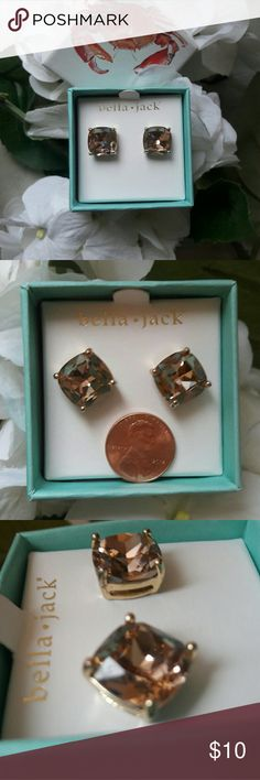 Bella Jack Large Gemstone Studs Chic toffee colored studs from Bella Jack! Such a classic look that pairs well with any outfit.    Slight bend in both posts Comes with metal backs Comes in original box Bella Jack Jewelry Earrings