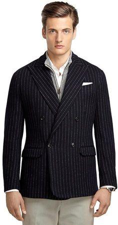 Navy Stripe Double-Breasted Knit Blazer