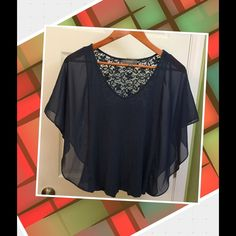 UMGEE Top w/ Lace Dark smoky blue with lace back. Umgee Tops