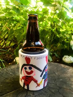 DIY drink coozie to cool dad's bottles and cans. Cute and easy Father's Day gift idea from the kids!