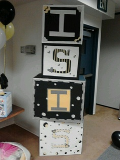 Baby blocks i made as decor @ my babyshower ... welcoming my daughter. Isis!
