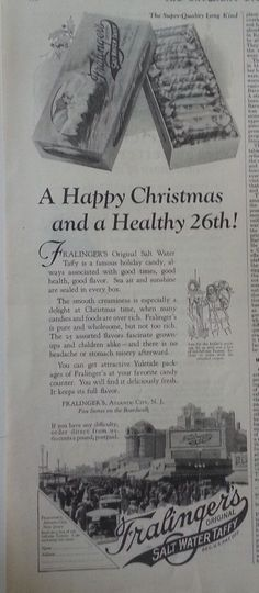 1924 Fralingers Atlantic City Salt Water Taffy  Candy in Box at Christmas Ad #Fralingers