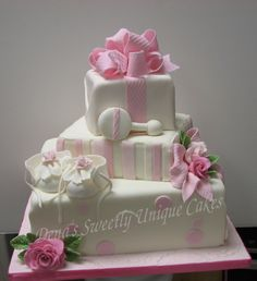 Pink & White baby shower cake