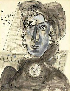 Pablo Picasso - Buste de femme au corsage orné d'une broche, 1943. Gouache, watercolor, pen and India ink on paper, 25¾ x 19 7/8 in. (65.4 x 40.4 cm.). @ Christie's Images, New York