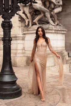 Jocelina - Gold Glitter Gown with Off-Shoulder Long Sleeves & Slit