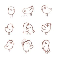 so cute birds doodles