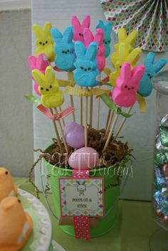Peeps on a stick at a Easter Party #easter #. Can't wait to do this for my Peep loving kids!!