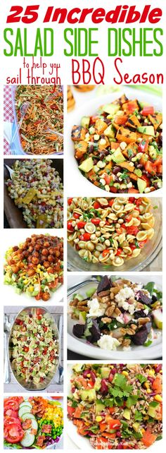 Never worry about what to bring to a BBQ again with this fabulous list of 25 incredible BBQ Salad Side Dishes at thehappyhousie.com