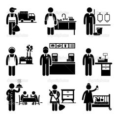 Low Income Job Garbage Man Dishwasher Janitor Factory Worker Fast Food Server Cashier Waiter Maid Na En Stock, Stock Foto, Stock Icon, Sharpie Drawings, Factory Worker, Homeless Man, Brochure Design Inspiration, Stick Figures, Job S