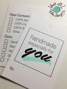 """Free Download: Printable """"Handmade by"""" Tags with care instructions, for knit/crochet/handmade gifts!"""