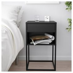 VIKHAMMER Nightstand - black - IKEA Find affordable home furnishings and furniture, all in one store. Shop quality home furniture, décor, furnishings, and accessories. Furniture, Black Bedside Table, Home Furnishings, Home Bedroom, Home Furniture, Bedroom Design, Bedroom Furniture, Furnishings, Ikea Bedroom