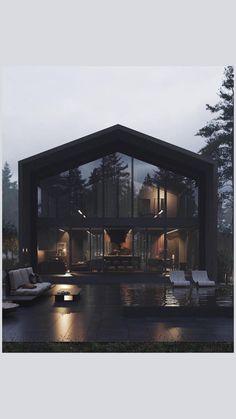 Home Building Design, Home Room Design, Dream Home Design, Modern House Design, Building A House, Villa Design, Modern Architecture House, Interior Architecture, Modern Houses