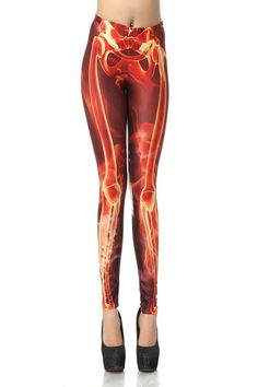 ❤ Red 3D Fire Skull Bone Skeleton Print Legging @ $14.79 USD.✔ Free Shipping in USA. #leggings