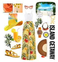 """""""Chic Island Getaway"""" by michele-nyc ❤ liked on Polyvore featuring Vince, Miguelina, Franco Sarto, Sophie Anderson, Banana Republic, GUESS, Salvatore Ferragamo, TradeMark and Brewster Home Fashions"""