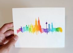 This gorgeous notecard features the Cologne (or Koln) skyline in colors. The card measures A6 when folded, and features a unique watercolor