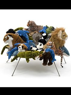 Zoo chair, Stuffed animals make up the cushioned seat of this chair.