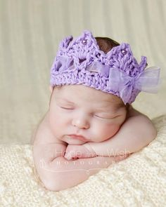 Crochet Crown, Newborn baby Crown, Princess Royalty Tiara Crown with ribbon pearl accents photography prop. $14.95, via Etsy.