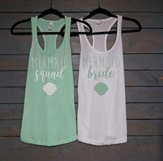 Mermaid Bride/Squad Racerback Tank Tops Use them for your bridesmaid proposal and wear to your bachelorette party or while you're getting ready on your big day. ** This listing is for a white/mint…More Wedding Day Shirts, Bridal Shirts, Bridesmaid Tanks, Bridesmaid Proposal, Bridesmaids, Custom Wedding Gifts, Personalized Wedding Gifts, Bachelorette Tanks, Tank Top Outfits
