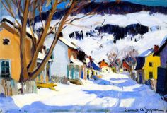 Village Street, Bair-saint-paul Artwork By Clarence Gagnon Oil Painting & Art Prints On Canvas For Sale Canadian Painters, Canadian Artists, Clarence Gagnon, Painting Snow, Of Montreal, Winter Art, Objet D'art, Illustrations, Artist Art