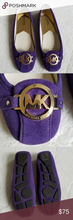 NWOT Michael Kors Fulton Suede Moccasin Brand New with out tags,  Michael Kors Fulton Suede Moccasin in a beautiful royal purple! Gold logo detail at the toes and rubber soles. Genuine leather upper. Michael Kors Shoes Moccasins