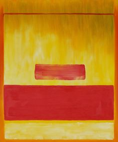 This is a work done by Mark Rothko with using red & yellow paint in the 1940's, using three different types of yellow patterns, very light of the bottom by too much water on the brush, medium yellow in the middle & medium water, a gold yellow on the top & a touch of brown, a bright red rectangle close to the bottom & another small red rectangle but not much paint on the brush. I like this because of the three yellow patterns blend together & the two red rectangles were very eye catching.