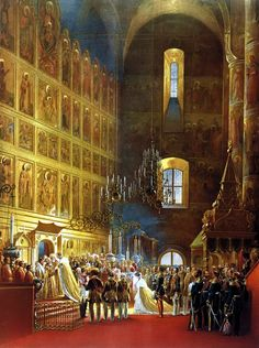 Confirmation of the Emperor Alexander II during his coronation in the Cathedral of the Assumption.