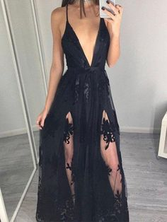 Long Prom Dress,Spaghetti Straps Prom Dress, Deep V-neck Prom Dress, Sexy Prom Dress, Prom Dresses Lace. PD210608