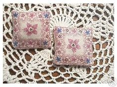 2 Miniature Dollhouse  Pillows Pink Toile Floral. $6.00, via Etsy.
