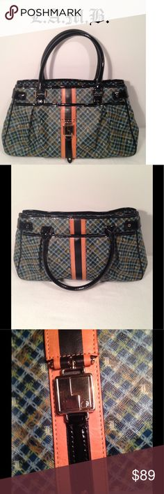 "L.A.M.B. Chain Plaid Hopewell Handbag💚💙 Gorgeous handbag designed by Gwen Stefani. Zippered on bottom of bag to expand bag larger. Great condition. Front handles peeling a bit from shelf wear. I've never used the bag. Interior is super clean. Front & rear exterior snap closure pockets. Interior 1 zip & 2 open pockets. Strap drop 6"". Goldtone hardware, a few small hairline scratches. Beautiful handbag. Authentic & smokefree. Dustbag included. Carefully review all photos & ask any questions…"