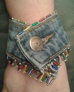 Boho cuff bracelet from recycled jeans.... #TextileWaste #UsedClothing #Thrift #Renew Repair #Upcycle #Recycle #DIY #GreenLiving #Vintage #Handmade #Craft #DIY #Sustainable #Fashion Upcycled Textiles, Used Clothing, Vintage Denim, Thrifting, Denim Jeans, Diys, Cuff Bracelets, Jewelry Making, Boho