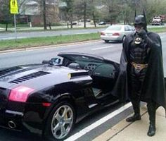 Batman's Lamborghini. At least he was pulled over in style!