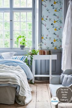 Classic Swedish Summer Style  -I love the wall paper