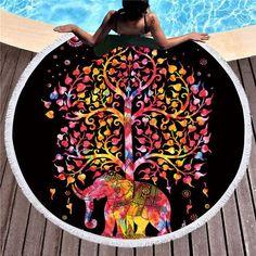 Bohemian Elephant Round Beach Towel Boho Indian Tassel Tapestry Bath S – Center Of Treasures Lotus Mandala, Flower Mandala, Lotus Flower, Elephant Bedding, Chill, Shower Towel, Bath Shower, Colorful Elephant, Vestidos