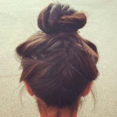 pretty high bun with french braid. easy peazy, especially with limited time in…