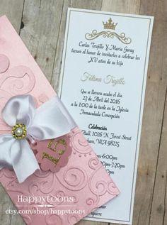Blush Quinceañera / Sweet sixteen invitation wedding   Etsy Sweet Sixteen Invitations, Wedding Invitations, Quinceanera, Stationery, Paper Crafts, Etsy, Blush, Invitations, Paper Mill