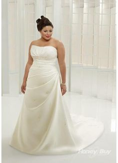Plus Size Brunette In Draped Wedding Gown