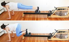 Bear Crunches using a rower (from Core + Cardio Circuit Workout with the Rowing Machine)