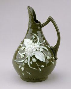 ** Džbán - zelený zdobený porcelán ,American r.1891-97 **