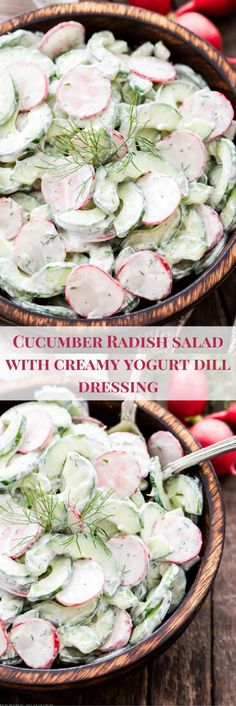 Cucumber Radish Salad with Creamy Yogurt Dill Dressing – Crisp and crunchy with a delicious creamy Greek yogurt dressing full of lemon juice and fresh dill. It's the perfect summer salad! Greek Yogurt Cucumber Salad, Creamy Cucumber Salad, Radish Salad, Cucumber Recipes, Pasta Salad Recipes, Healthy Salad Recipes, Vegetarian Recipes, Recipes With Radishes, Cooking Radishes