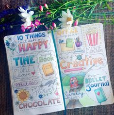 10 Things That Make Me Happy I'm a pretty simple person — I will have to try this. It's a great idea. Bullet Journal Notebook, Bullet Journal Inspiration, Bullet Journals, Wreck This Journal, Journal Pages, Journal Ideas, Sketch Note, Bullet Journal Aesthetic, Arte Sketchbook