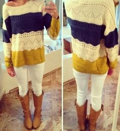 Simple tri-color sweater mustard, cream and purple Look Fashion, Fashion Outfits, Womens Fashion, Fall Winter Outfits, Autumn Winter Fashion, Mode Style, Style Me, Swagg, Passion For Fashion