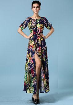 Royal Blue Boat Neck Floral Split Dress