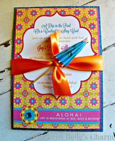 {Love the ribbon with the umbrella!!!} Luau/Flower Invitations...Set of 10 by southernbellescharm on Etsy, $58.00