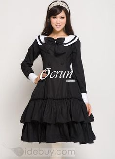 Black Cotton Double layer Lolita Dress