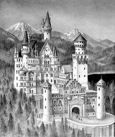 Neuschwanstein Castle by Dan Guerra Boat Painting, Stencil Painting, Graffiti Drawing, Art Drawings, Merry Christmas Coloring Pages, Castle Coloring Page, Castle Illustration, Castle Drawing, Castle Tattoo